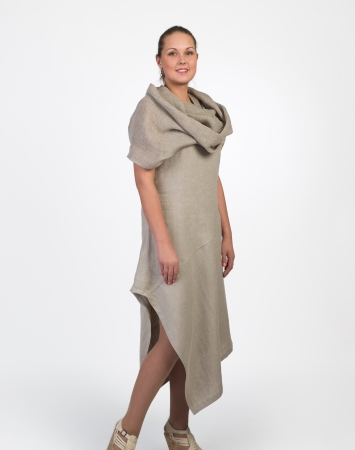 White linen dress with scarf