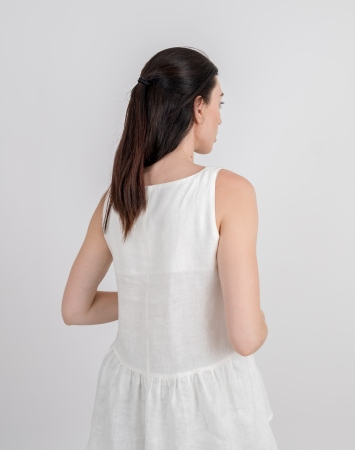 White sleeveless frill linen top