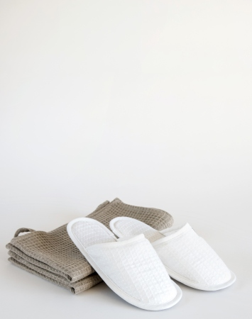 White waffle linen bath spa slippers