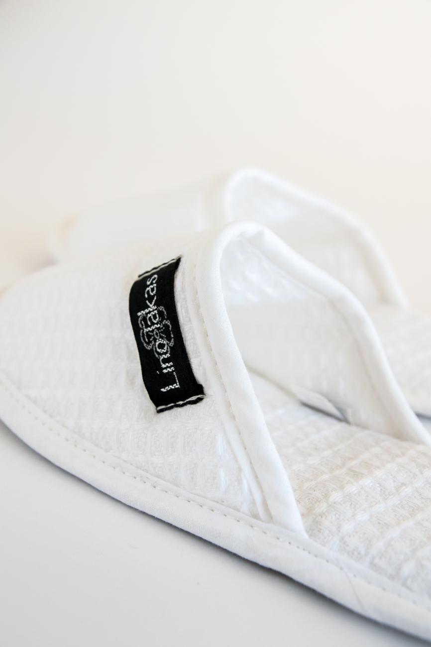 White waffle linen bath spa slippers