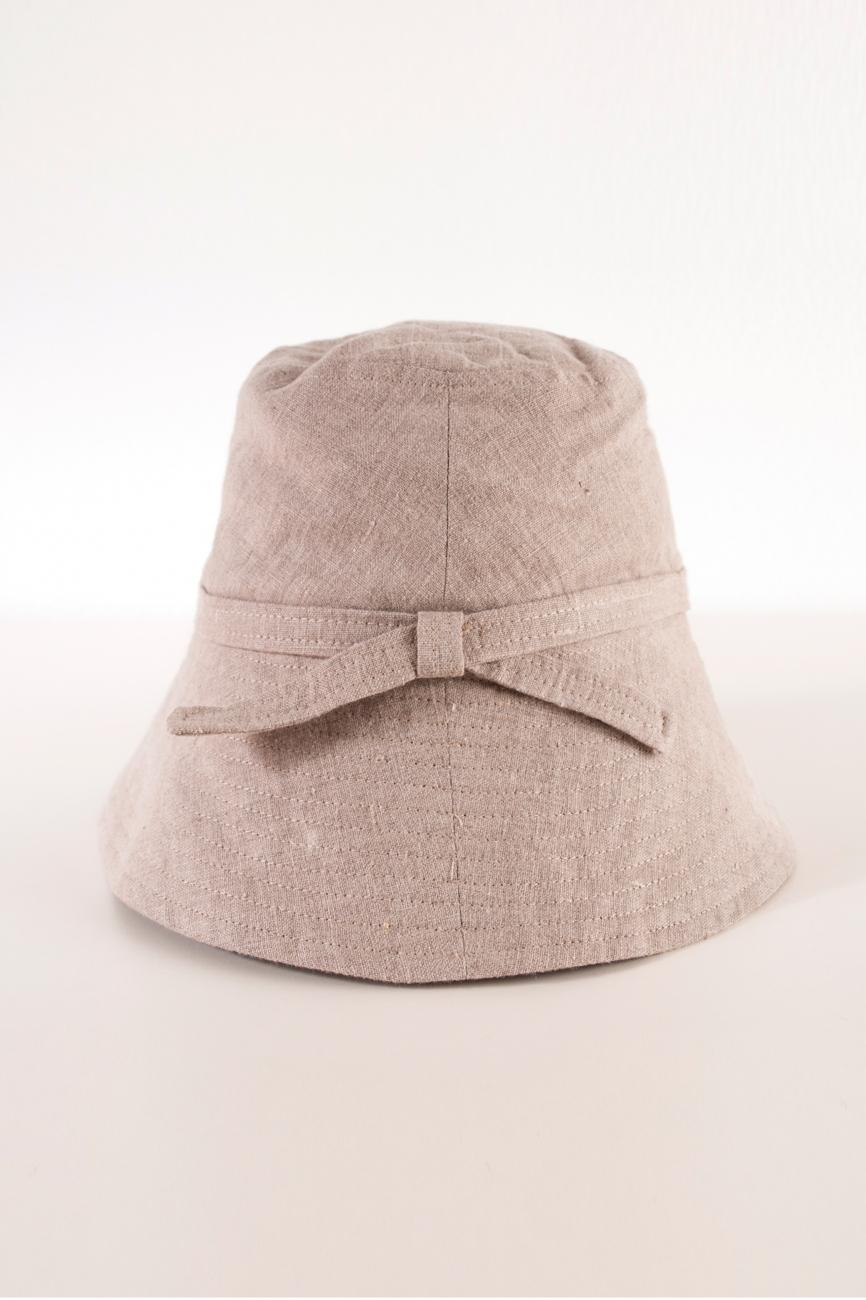 Wide brim linen bucket hat