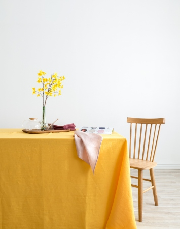Yellow washed linen tablecloth